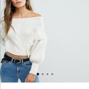 Asos off the shoulder fringe sweater
